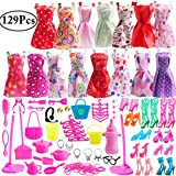 Outee 129 Pcs Doll Clothes Set for Barbie Xmas Gift Fashion Doll Cloths Doll Shoes Jewelry Necklace Earring Accessories for Girls Kids Birthday Party