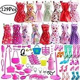 Outee 129 Piezas de Tela de muñeca Set Incluye 15 Pack de Moda Barbie Ropa de muñecas 10 Pares de Zapatos de muñeca joyería Collar Pendiente Accesorios para niñas cumpleaños Regalo de Navidad