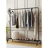 EKRON Metal Multifunctional Garment Stand Cloth Rack Freestanding Storage Organizer with Bottom Shelves Single Pole Coat Hang