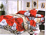 Desirica Red 3D Roses Double Bedsheet wi...