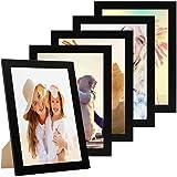 Photolini Juego de 5 Marcos 21x30 cm/DIN A4 Basic Collection Modernos, Negros de MDF, Incluyendo Accesorios/Collage de Fotos/