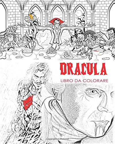 Dracula: Libro di colorazione adulto per stress e Mandalas del conte Dracula, pipistrelli, Halloween, costumi d'orrore, occhiali per usare il bagliore nei colori scuri (Costume De Halloween Adulti)