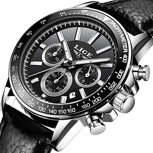 Montres Hommes,LIGE Imperméable Chronographe Sport Analogique Quartz Montre Bracelet en Cuir Cadran Noir Date Mode Décontractée Montres Bracelet