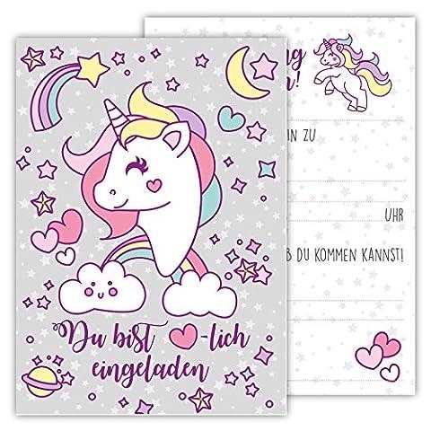 12 Lustige Einladungskarten Set Kindergeburtstag Einhorn Regenbogen Wolke Sterne Herz Karten Rosa Pink Grau witzig Einladung Geburtstag Party