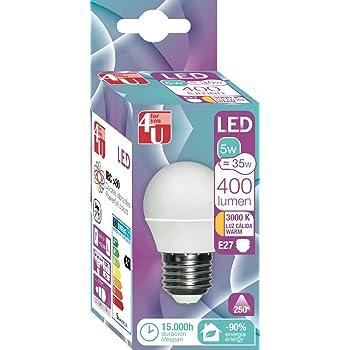 4U 400465 Bombilla LED E27, 5 W, Blanco, 120 x 40
