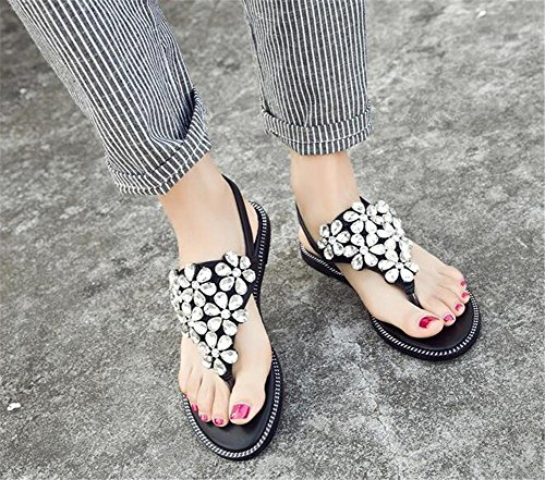 YEEY Open toe tacco flat round peep Plantform Sandali donna estate spiaggia post sandali infradito scarpe blank