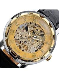 Sannysis De cuero de los hombres clásicos Dial Esqueleto Deporte Mecánica Ejército reloj(oro)