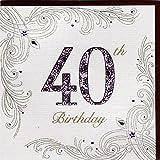 Edle Glückwunschkarte zum 40. Geburtstag von Koko Designs mit Prägung, Folie und Kristallen KK013