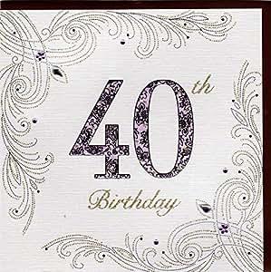 edle gl ckwunschkarte zum 40 geburtstag von koko designs mit pr gung folie und kristallen. Black Bedroom Furniture Sets. Home Design Ideas