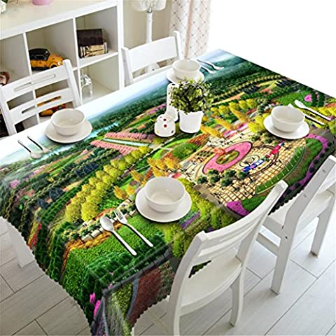 Tablecloth 3D Park garden Dust-proof Party Dinner Dining Decorative Table Top Cover Rectangular Fits tables Various Sizes ,