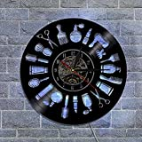 NACHEN Friseurgeschäft Professionelle Vinyl Wanduhr mit LED Licht Handmade Art Haarschnitt Mauer Uhr mit Fernbedienung Controller,Kann 7 Arten Helle Farben ändern,Black,Diameter12inch