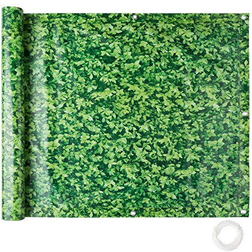tectake Brise Vue pour Balcon Protection visuelle | Résistant aux intempéries - diverses Couleurs et diverses Tailles au Choix (0,9 x 6 m | Motif Feuillage Vert | No. 402711)