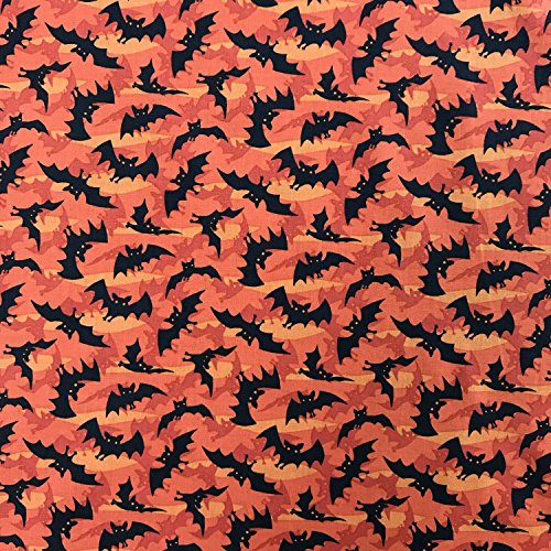 Discover Direct Halloween Fledermäuse orange mit 100% koreanischen, Baumwolle, weich, mit Gewebe, für Bastelarbeiten, Kleid mit 112cm Breite–Verkauft Pro - Tasche Koreanischen