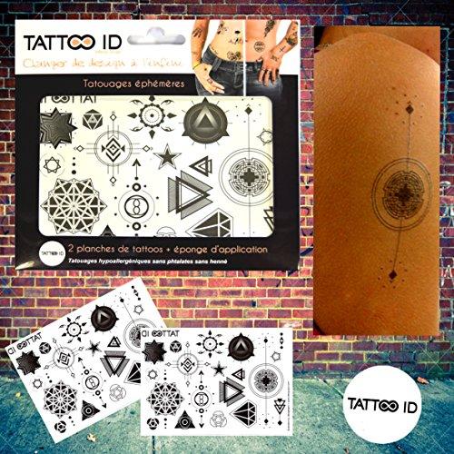 TATTOO ID GEOMETRIQUE tatouage ephemere temporaire hypoallergénique Fabriqué en FRANCE. 2 planches identiques+ 1 éponge cosmétique Homme Femme