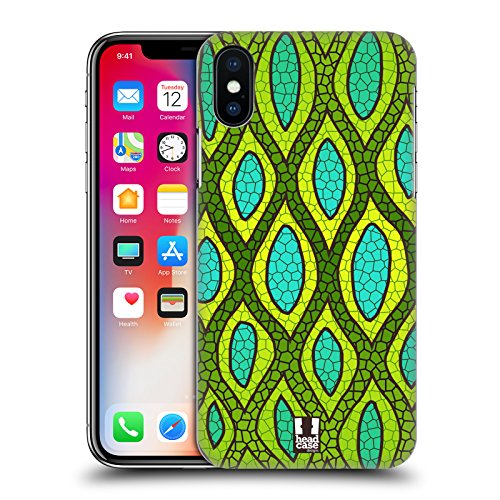 Head Case Designs Tigre Corallo Stampe Pazze 2 Cover Retro Rigida per Apple iPhone X Pelle Di Serpente