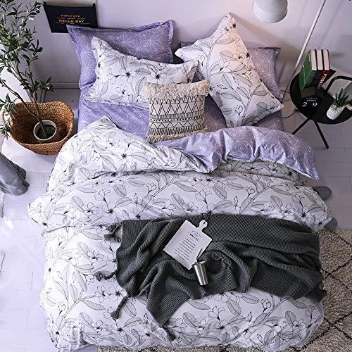 SHJIA Heimtextilien Bettwäsche-Sets Erwachsenenbettwäsche-Set Bett Weiß Schwarz Bettbezug König Queen Size Bettbezug Kurze Bettwäsche Tröster lila 150x200cm -