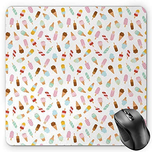 Ice Cream Mouse Pad, Cartoon Doodle Style Creamy Delicious Diary Desserts with Various Sweet Flavors Gaming Mousepad Office Mouse Mat Multicolor Floral Dessert