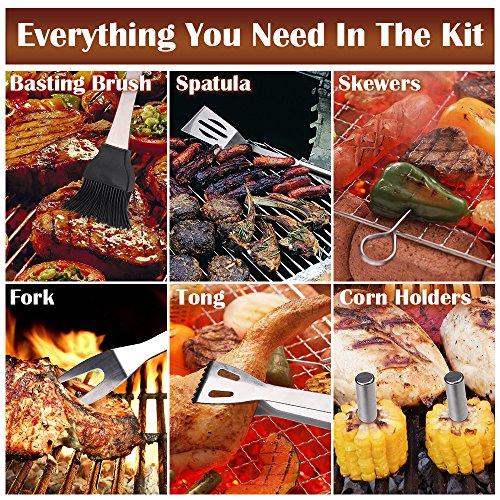 61QmJnX9hcL - Chenci Grillbesteck BBQ Grillzubehör 16 Set, Barbecue Grillen Werkzeuge Koffer aus Edelstahl mit Wärmeisolierende Griff Ideal für Outdoor Familien Garten Party