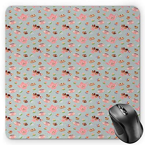 spads,Cupcakes Cookies and Flowers on Polka Dotted Background Great Britain Tradition,Standard Size Rectangle Non-Slip Rubber Mousepad,Multicolor ()