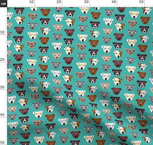 Pitbull, Hund, Hunde, Brille, Niedlich Stoffe - Individuell Bedruckt von Spoonflower - Design von Petfriendly Gedruckt auf Performance Piqué