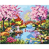 SUBERY DIY Oil Painting, Paint by Number Kit for Adults Kids Beginner - The Love of Cherry Blossoms 16x20 inch (Without Frame)
