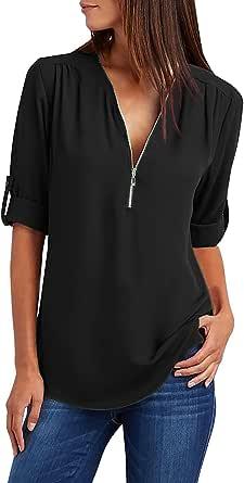 Yuson Girl Bluse e Camicie Felpa Donna Magliette Manica Lunga e Zip Eleganti Casual T-Shirt Taglie Forti Sciolto Bluse V Scollo Pullover Puro Colore Tops Camicetta Maglie Moda Felpe