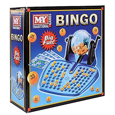 KandyToys Jeu Bingo 48 cartes 100 jetons 90 balles de bingo Distributeur de balles de bingo