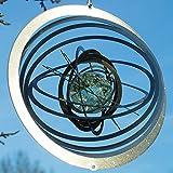 colourliving® Edelstahl-Windspiel STRUDEL GLOW fluoreszierende Glaskugel Made in Germany