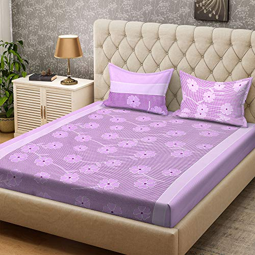 Bombay Dyeing Double Bedsheet with 2 Pillow Covers - Purple