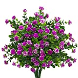 Künstliche Blumen, Fake Outdoor UV-Beständig Pflanzen Faux Kunststoff Greenery Sträucher Blumentopf für Drinnen Außen Aufhängen Home Küche Büro Hochzeit Garten Decor (Rot)