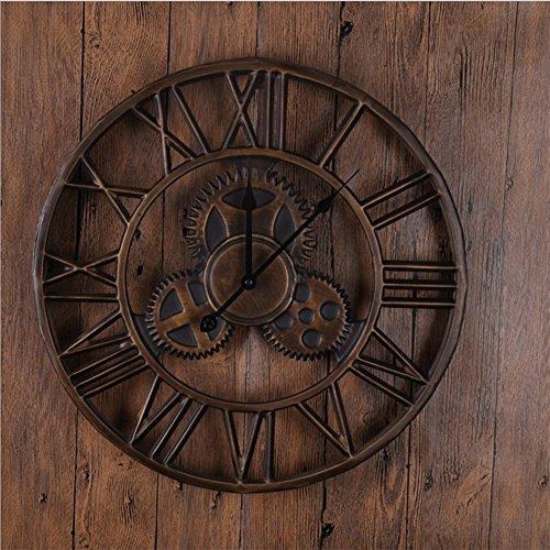 SHFF Retro Wanduhr 18 Zoll, Vintage Handgemachte 3D Dekorative Gear Metall Uhr Mit Bewegungen - Bronze