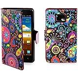 32nd Smartphone-Schutzhülle / Handytasche für Samsung Galaxy S2 i9100, PU-Leder, Kreditkartenfächer, Displayschutzfolie, Reinigungstuch mehrfarbig Jellyfish
