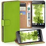 moex HTC One M8 | Hülle Grün mit Karten-Fach 360° Book Klapp-Hülle Handytasche Kunst-Leder Handyhülle für HTC One M8/M8s Case Flip Cover Schutzhülle Tasche