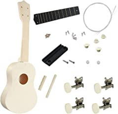 MagiDeal DIY 21inch Basswood Soprano Ukulele Kits Handmade Unfinished Musical Instrument Gift for Family Friends White