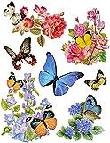 7 tlg. Set Fensterbild - Sonneblume Blumen und Schmetterlinge -