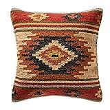 The Indian Arts Fair Trade Kelim Kissen handgefertigt auf gewebt mit 80/20Wolle/Baumwolle und natürliche Farbstoffe Kashi (45x 45cm), braun, 45 x 45 cm