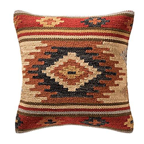 Commerce équitable Kilim Housses de coussin faite à la main sur l'aide Fabrication artisanale 80/20en laine/coton et teintures naturelles Kashi Baguettes (45cm x 45cm), marron, 45 x 45 cm