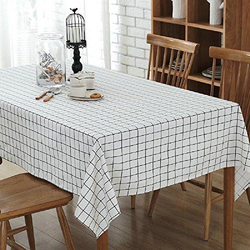 K&C Baumwoll Leinen Tischdecke Staubdicht Tischabdeckung für Küche Dinning Pub Tabletop Dekoration 55