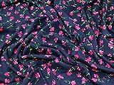 Minerva Crafts Floral Print Viskose Kleid Stoff navy blue &