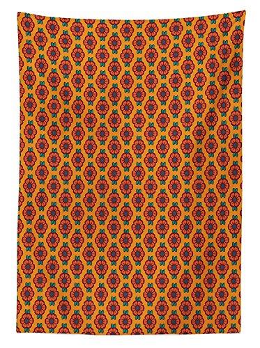 Yeuss Burnt Orange Tischdecke Outdoor, Abstrakt ¨¹ppigen Natur Muster Blooming Petals Laub Bl?tter, Dekorative Waschbar Picnic Tischdecke, Multicolor 60