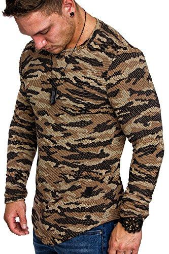 Amaci&Sons Camouflage Oversize Vintage Herren Pullover Hoodie Sweatshirt Crew-Neck 6013 Camouflage Beige M