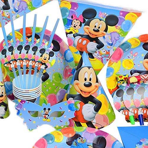 Geburtstag Hochzeit Party Dekoration Geschirr Cartoon 16er Pack Set von Trimming Shop (hellblau) (Mickey-mouse Geburtstag Party Dekorationen)