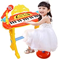 MWG Exports Co Symphony Multi-Functional 32 Key Musical Kids Piano Toy with Microphone & Chair for Boys and Girl Children Keyboard STEM Toys - RED