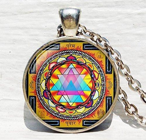 Sacred Geometrie Schmuck, Sri Yantra Schmuck, Halskette für Männer, Sri Yantra Halskette (Yantra-halskette)