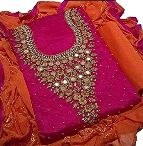 Pink Chanderi Antiq Moti Handwork Unstitched Dress material for women