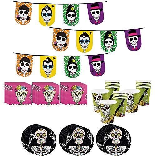 COM-FOUR® 75-teiliges Totenkopf und Piraten Party-Geschirr und Deko-Set für Halloween, Geburtstag, Motto-Party (075-teiliges - Halloweenset)