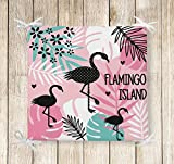 Beauty Home - Solak 4er Set Flamingo Stuhlkissen - Sitzkissen Digital Bedruckt mit Füllung - 40x 40 cm - Indoor und Outdoor