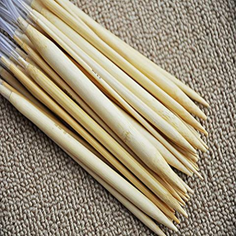 LanLan 18 Pair 16''(40cm) Circular Bamboo Knitting Needles Set Kit with Plastic Tube