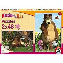 Schmidt Puzzle 56139 - Masha y el oso, en el jardín, 2 x 48 piezas