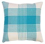 """EHC Premium Tartan 100% Cushion Cover Pillow Case 17"""" X 17"""", Cotton, Teal, 17 x 17-Inch"""